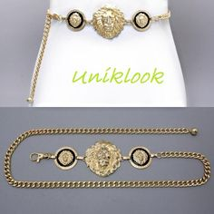 """Necklace Or Belt Chunky Victorian Triple Gold Lion Head Medallion Chain 40"""" Long $32.99"""