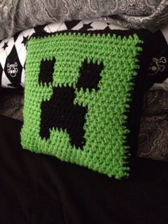 Handmade Crochet Minecraft Creeper 14x14 by SuperPunkRockMomShop, $25.00