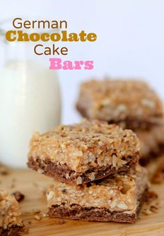 German Chocolate Cake Bars -- these soft and simple bars start with a cake mix and are lunch box friendly.  My husband loves them!!