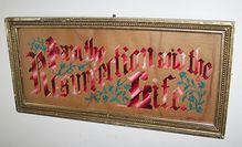 "Victorian Era Punched Paper Motto Sampler I Am The Resurrection And The Life  Note: This ""Punched Paper"" sampler, it is a heavy paperboard presenting with tiny holes punched into it and than wool was embroidered through the holes."