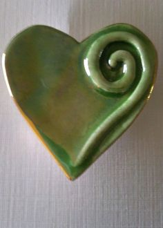 Green Heart Pin by exCLAYmations