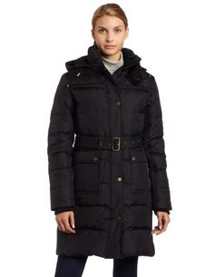 Tommy Hilfiger Womens Belted Down Jacket