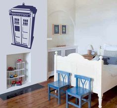 WANT!!!!!!!!!!! Dr Who - Tardis - Personalised with a name of your choice - Children's Wall Decal Sticker - Large. $43.00, via Etsy.