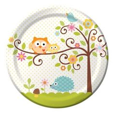 Happi Tree Owl Theme Baby Shower Plates - love these!