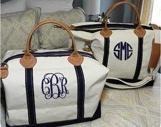 Preppy Monogrammed Weekender Bag by adstorey on Etsy, $85.00