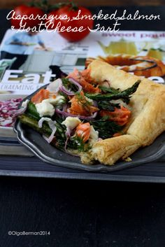 Asparagus, Smoked Salmon & Goat Cheese Tart adapted from @Sweet Paul Magazine cookbook. tomato, goat cheese, chees tart