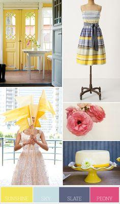 pink, yellow, blue