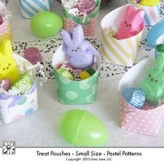 Print your own hand made Easter Table Top Treat Pouches for parties, dinners, Sunday School, Primary Classes, Baby Showers, Bridal Shower, Mother's Day, Girls' Parties, Gifts for Friends, Garden Parties, and more!  Great party favor idea. Fast, and easy, inexpensive, cheap idea for making your own party favors at home. Gina Jane Designs - DAISIE Company