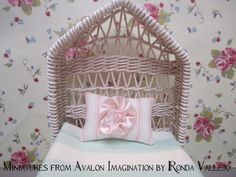 Barbie or Blythe size miniature shabby chic decorative pillow. $3.00, via Etsy. 1:6th scale