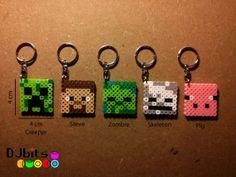 minecraft magnet, magnet charm, perler beads, minecraft keychain