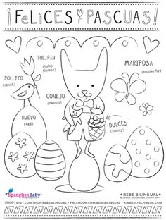 Felices Pascuas coloring sheet in Spanish - SpanglishBaby.com
