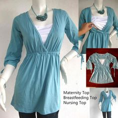 MADDY Maternity Clothes Nursing Top Breastfeeding Top NEW Original Design GREEN/  Nursing Tops for Breastfeeding