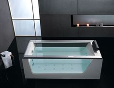 EAGO AM152 Free Standing 6' Clear Glass Whirlpool Hot Tub with Stereo - $2899