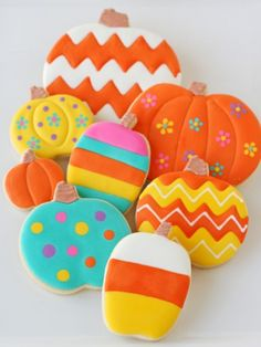 Colorful Painted Pumpkin Cookies