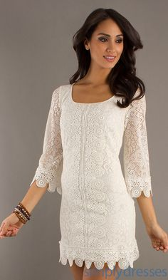 Laundry by Shelli Segal 3/4 Sleeve Lace Dress LY-91R34313