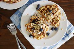 Gluten-Free Blueberry Muesli Waffles.