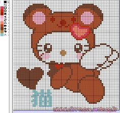 .Hello Kitty perler bead pattern