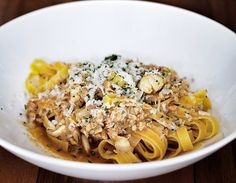 A light but flavourful crab pasta with an aromatic shellfish broth