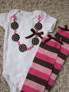 Chocolate brown and pink necklace applique onesie by TheModishLife, $26.00