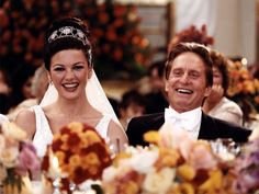 Newlyweds Catherine Zeta-Jones and Michael Douglas at their wedding reception in 2000.