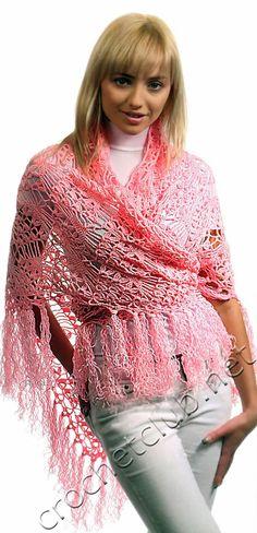 Шаль персикового цвета - Вязание Крючком. Блог Настика. Схемы, узоры, уроки бесплатно