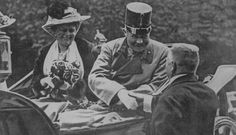 Archduke Franz Ferdinand (seated, in hat) and his wife, Sophie, on the day they were assassinated, Sarajevo, June 28, 1914.