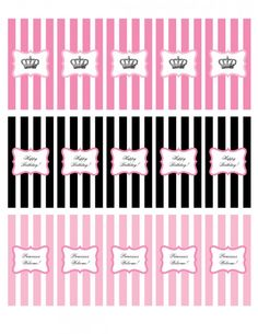 Free printable mini candy bar wrappers! #princessparty #freeprintables