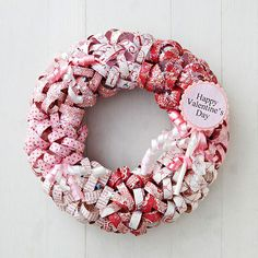 How adorable is this Paper Curls Valentine Wreath? See more projects here: http://www.bhg.com/holidays/valentines-day/decorating/hand-crafted-valentines-day-decor/
