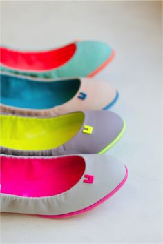 neon flats! lovely pops of color  elfsacks. These are great.....simple ....pretty ...comfortable