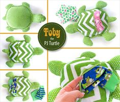 Toby the Stuffed Turtle with a Hidden PJ Pocket | Sew4Home @Sew4Home . Toby features Cuddle Classics™ http://www.shannonfabrics.com/cuddle-classics-c-956.html #TobythePJTurtle