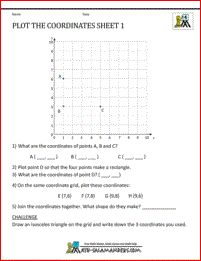 Coordinate worksheets 1st quadrant - plot and write coordinates