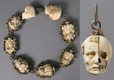 Rosary, ca. 1500–1525  German  Ivory, silver, partially gilded mounts    Each bead of the rosary represents the bust of a well-fed burgher or maiden on one side, and a skeleton on the other. The terminals, even more graphically, show the head of a deceased man, with half the image eaten away from decay. Such images served as reminders that life is fleeting and that leading a virtuous life as a faithful Christian is key to salvation.