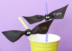 name tags, halloween parties, cups, halloween drinks, bats, ribbons, halloween crafts, straws, eye