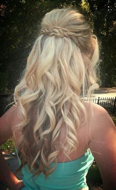 curly hairstyles, curled hair with braid, long hairstyles for wedding, long curly hairstyle, prom hair