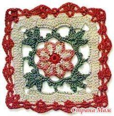 Floral Square Motif free crochet graph pattern