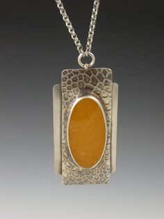 "Yellow agate and sterling silver finished ""snake skin"" pendant 