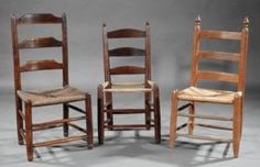Two early chairs in mulberry wood to the left and an early chair to the right of ash. To be sold at Neal Auction, New Orleans, LA—Nov 17–19, 2017.