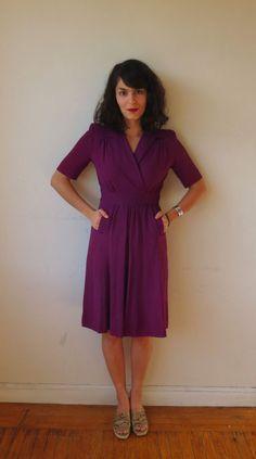 40's Plum Day Dress by shopSHELTER on Etsy, $68.00