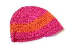 Baby Hat Brim Beanie Pink Orange Stripes by PreciousBowtique, $8.00
