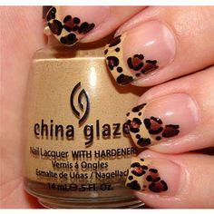 french manicures, china glaze, cheetah print, cheetah nails, nail arts, leopard nails, french tips, animal prints, leopard prints