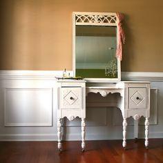 1930s Vanity Desk and Mirror. Antique White. Cream. Bohemian Chic. Boudoir Closet. Summer Home Decor.. Shabby Chic. Casters. Storage.. $650.00, via Etsy.
