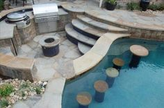 sunken outdoor kitchen and pool bar  79 Creative Pool Ideas