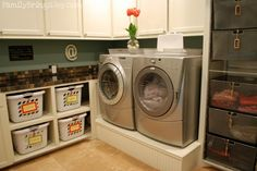 organize dirty and clean clothes in the laundry room