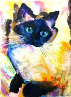 cat art, watercolor, anim, artist steve, jamocha, art paintings, saatchi onlin, onlin artist, steve gamba