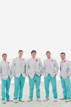 turquoise and pink groomsmen http://www.weddingchicks.com/2013/10/04/wedding-in-turquoise-and-pink/