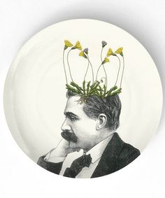Not ceramics - but still awesome use of imagery on a plate - Dandelion I potted plant  10 inch Melamine Plate by TheMadPlatters, $18.00