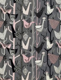 feather friend, patterns, color combos, pattern design, textiles, fabric, birds, print, lucienne day