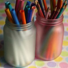 coloured mason jars - happy hooligans - frosted jars with glue and food colour