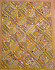 wonky string quilt in mustard, gold, tan, and putty by blempgorf, via Flickr