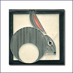 Charley Harper Hare Grey Motawi Tile
